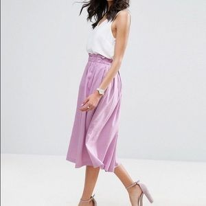 ASOS linen prom midi pleat skirt